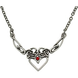 CGC Pewter Red Crystal Celtic Princess Heart Necklace