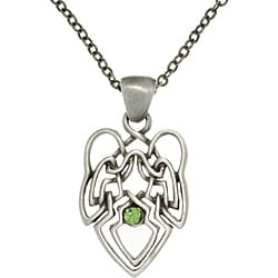 CGC Pewter Green Crystal Celtic Knot Angel Necklace