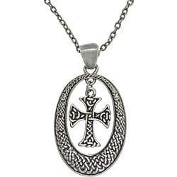 CGC Pewter Unisex Celtic Knot Oval and Cross Necklace