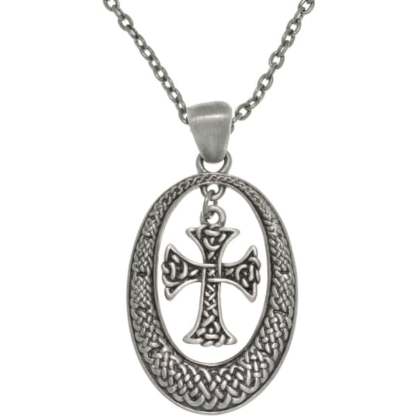 Pewter Unisex Celtic Knot Oval and Cross Necklace 8882729