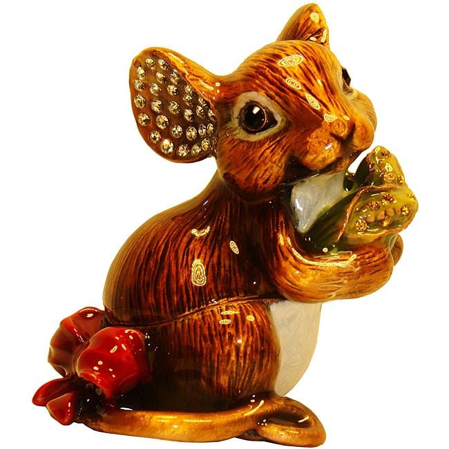 Cristiani Mouse Enameled Pewter and Crystal Trinket Box