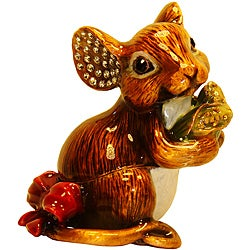 Cristiani Mouse Enameled Pewter and Crystal Trinket Box