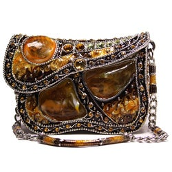 Cristani Collezione Large Amber Crystal Jeweled Purse Box