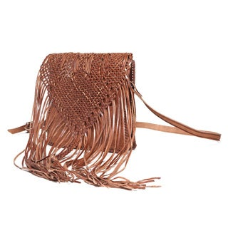 Fringed Large Tan Leather Crossbody Bag (Morocco)