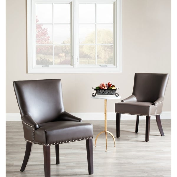 safavieh loire grey leather nailhead dining chair set of 2. Black Bedroom Furniture Sets. Home Design Ideas