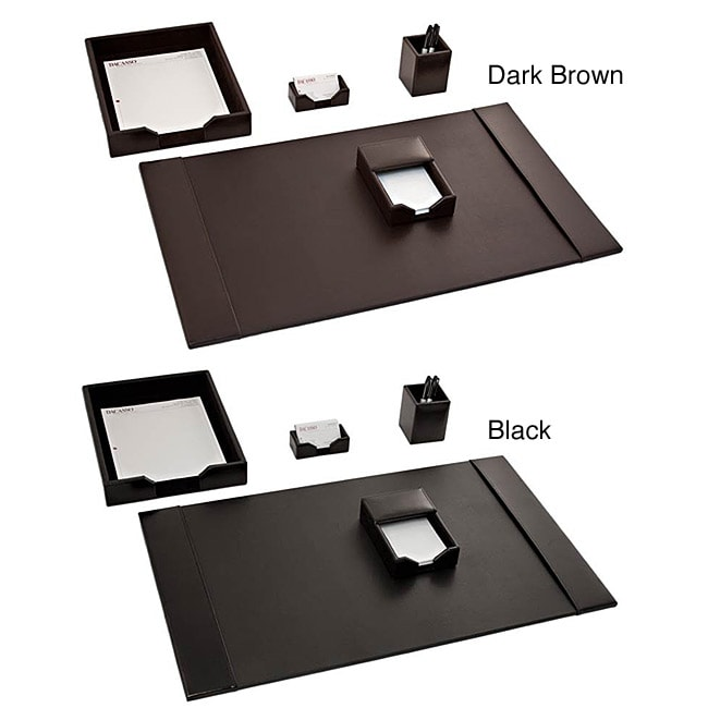 dacasso econo line leather 5 piece desk set 14138466