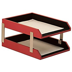 Dacasso Red Leather Double Letter Trays