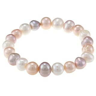 La Preciosa Pink and White Pearl Stretch Bracelet