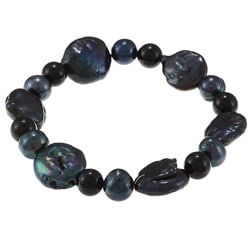 La Preciosa Blue Round and Oval Pearl Stretch Bracelet