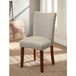 Tan Nail Head Parsons Chairs (Set of 2)