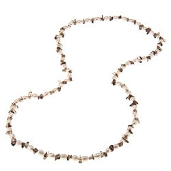 La Preciosa 36-Inch Smokey Quartz Beads and White Pearl Necklace