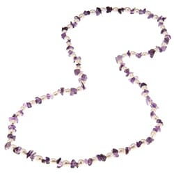 La Preciosa 36-Inch Amethyst Beads and White Pearl Necklace