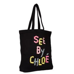 See By Chloe Black Graphic Print Cotton Tote Handbag