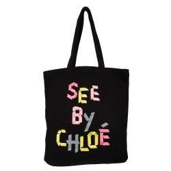 See By Chloe Black Graphic Print Cotton Tote Handbag