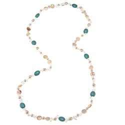La Preciosa 36-Inch Turquoise Ovals w/ White Crystals and Pearls Necklace