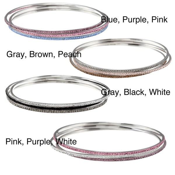 La Preciosa Sterling Silver Crystal 3-piece Stackable Bangle Bracelet Set