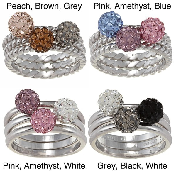 La Preciosa Sterling Silver Crystal Ball 3-piece Stackable Ring Set