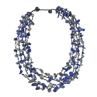 Sea Blue Lapis Five-layer Beauty Cotton Rope Necklace (Thailand)