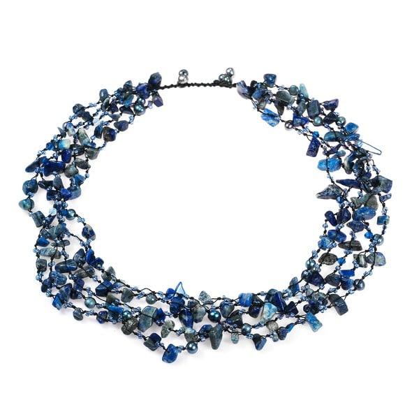 Sea Blue Lapis Five-layer Beauty Cotton Rope Necklace (Thailand)