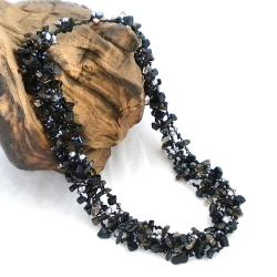 Midnight Mist Onyx Five-layer Beauty Cotton Rope Necklace (Thailand)