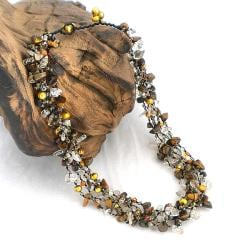 Earthy Brown Tiger's Eye Five-layer Beauty Cotton Rope Necklace (Thailand)