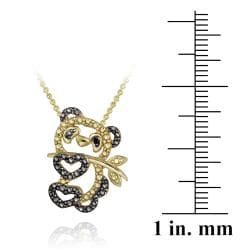 DB Designs 18k Yellow Gold Over Silver Black Diamond Accent Panda Bear Necklace