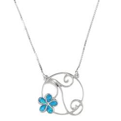 La Preciosa Sterling Silver Created Blue Opal Inlay Flower Necklace