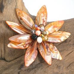 Pretty Orange Water Lily Mother of Pearl Pin/ Brooch (Thailand)