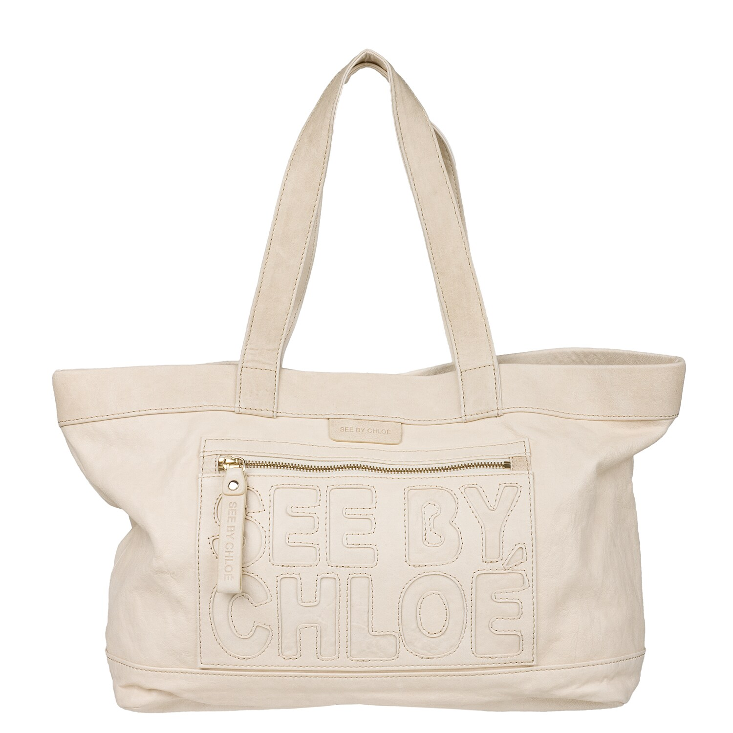See By Chloe Cream Leather Embellished Tote Handbag