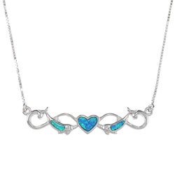 La Preciosa Silver Created Blue Opal Inlay Dolphin and Heart Necklace