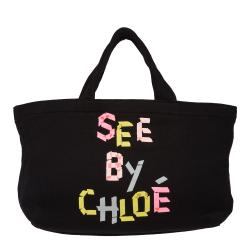 See By Chloe Black Multicolor Mini Cotton Tote