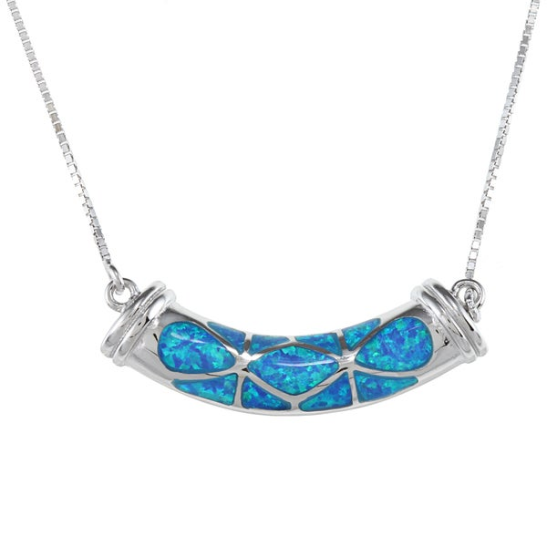 La Preciosa Sterling Silver Blue Inlay Opal Center Design Necklace