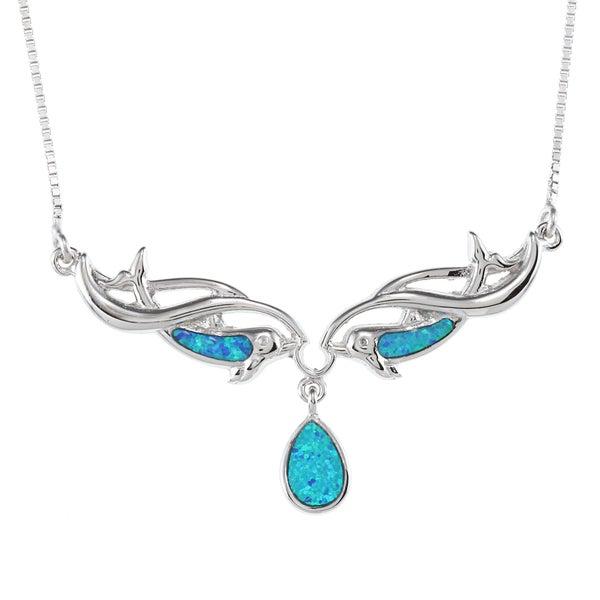 La Preciosa Sterling Silver Blue Inlay Opal Dolphins and Teardrop Necklace
