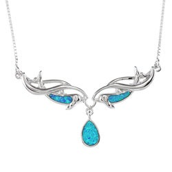 La Preciosa Sterling Silver Blue Inlay Opal Dolphins and Teardrop Necklace