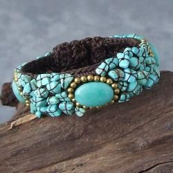 Handcrafted Three Ovals Mosaic Turquoise Cotton Rope Cuff (Thailand)