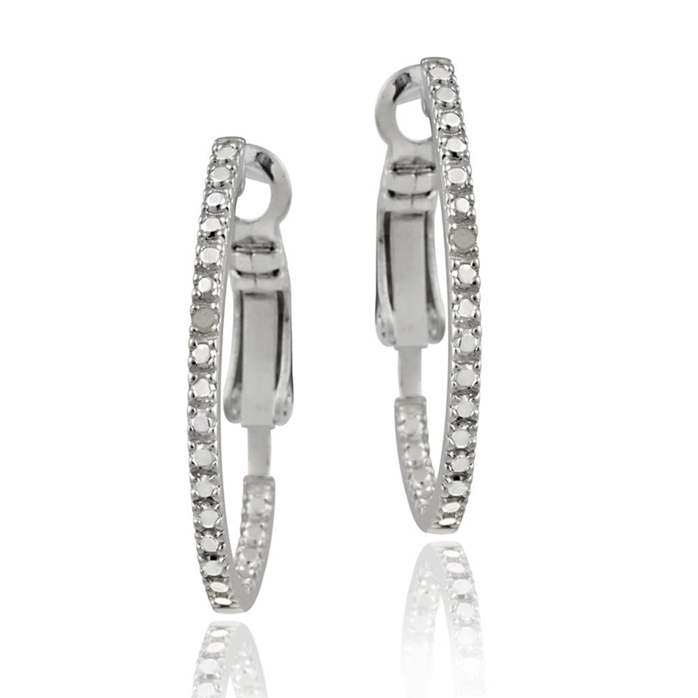 DB Designs Sterling Silver Diamond Accent Oval Hoop Earrings