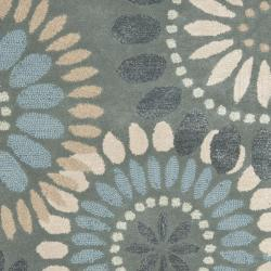 Handmade Botanical Gardens Grey Wool Rug (4' x 6')