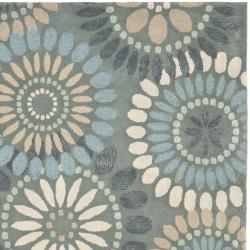 Handmade Botanical Gardens Grey Wool Rug (8' x 10')