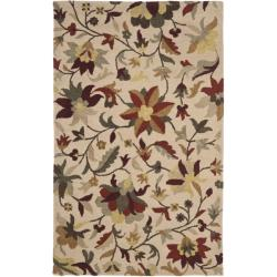 Handmade Botanical Gardens Floral Beige Wool Rug (4' x 6')