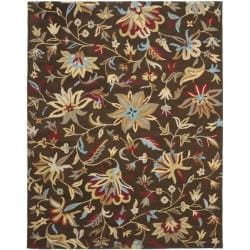 Handmade Botanical Gardens Brown Wool Area Rug (8' x 10')