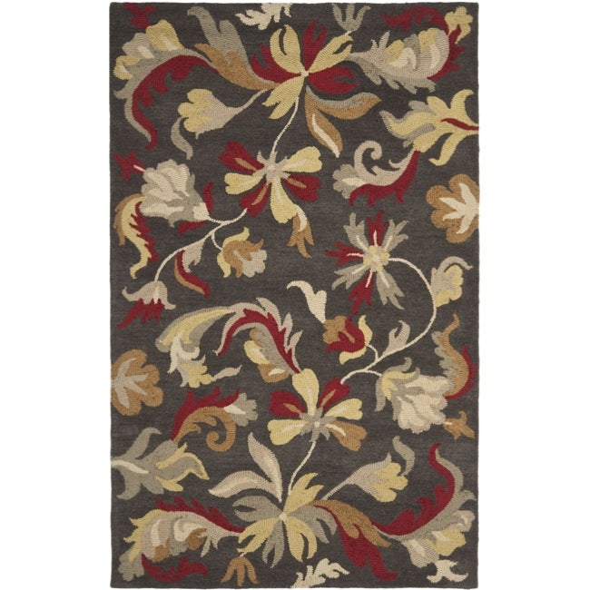 Safavieh Handmade Botanical Gardens Dark Grey Wool Rug (5' x 8')