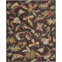 Handmade Botanical Gardens Dark Grey Wool Rug (8' x 10')