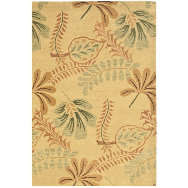 Safavieh Handmade Botanical Gardens Beige Wool Rug (4' x 6')