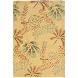 Handmade Botanical Gardens Beige Wool Rug (4' x 6')
