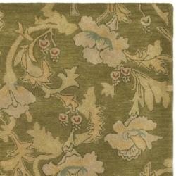 Handmade Botanical Gardens Green Wool Rug (9' x 12')