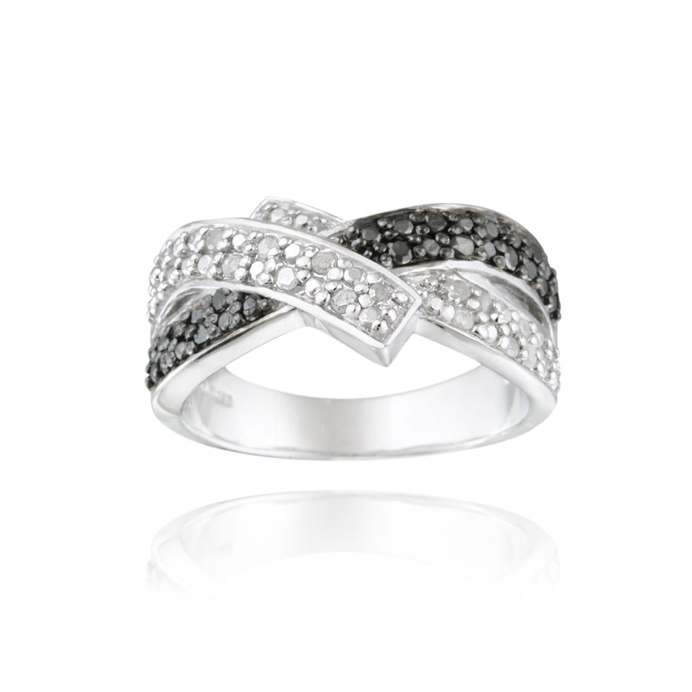 DB Designs Sterling Silver 1/4ctw TDW Black And White Diamond Crossover Ring (I-J, I2-I3)