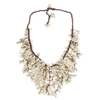 Handmade Natural White Mother of Pearl Waterfall Bib Necklace (Thailand)