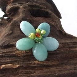 Adorable Blue-green Amazonite Floral Serenity Pin/ Brooch (Thailand)