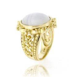 Glitzy Rocks Goldtone Lavender Lace Ring