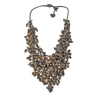 Handmade Trendy Tiger's Eye Waterfall Bib Necklace (Thailand)